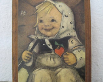 Vintage Hummel Wooden Wall Plaque . Happy Girl With Heart
