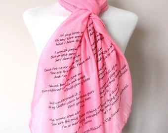 George Michael Scarf. Pink. Music lyrics scarf with 'A Different Corner' print. Poetry scarf.