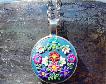 Multicolored Blue Floral Polymer Clay Pendant Necklace