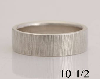 Hammered silver band, size 10 1/2 , also available in custom sizes, #869.
