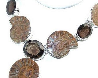 Ammonite Fossil and Smoky Quartz Sterling Silver Necklace