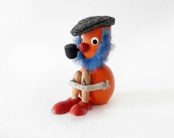 Vintage Figurine Danish Orange Painted Wooden Figurine Blue Bearded Man with a Cap and a Pipe