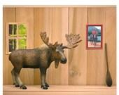 30% OFF SALE Funny Canadian moose art print: Cabin Fever