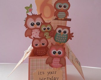 Handmade Pop Up Greeting Card - Owls theme great for children's birthday's
