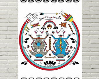 Displays large deco mandala Navajo: Mother Earth and father sky