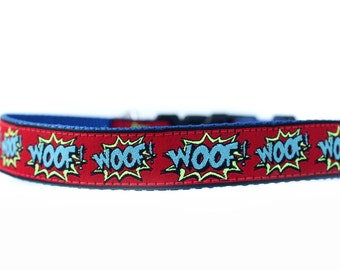 1 Inch Wide Dog Collar with Adjustable Buckle or Martingale in Woof Superhero