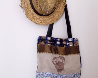 Tote bag Navy Blue and bronze with textile printing