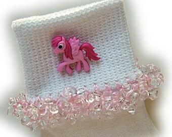 Kathy's Beaded Socks - Pink Pony Parade socks, button socks, girls socks, pink socks, tri bead socks, pony socks, hot pink socks