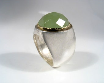 Cocktail and statement ring made of Sterling silver set with  a Jade stone  in solid  gold bezel.Serenity Jade Ring
