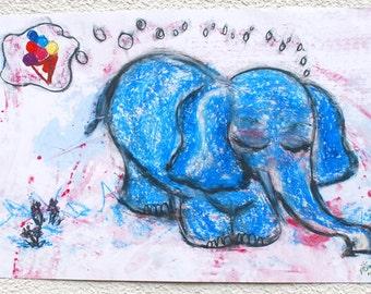 A3 poster children's dreamy elephant