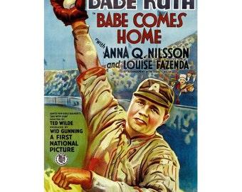 Babe Comes Home - Vintage Old Movie Poster - Antique Hollywood Ephemera - Silver Screen Decor - Collectible Art Print - Babe Ruth Baseball