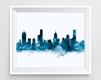 Melbourne Print, Skyline, Art Print, Australia, Watercolor, Wall Art, Printable, Cityscape, Travel, Panorama, Gift, Office Decor, Download