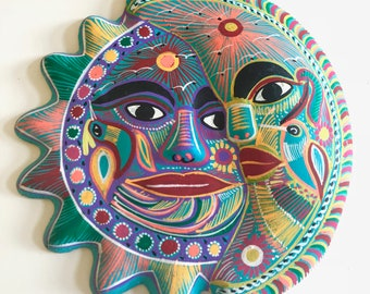 "Sun Moon 9"" Colorful Mexican Pottery Clay 3D Celestial Harmony Hand Painted Wall Hanging"