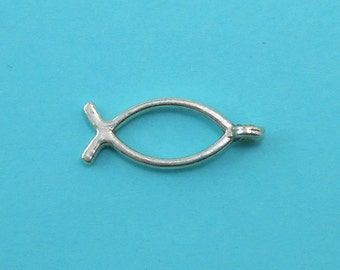 12 Christian Fish Charms Silver tone 2-Sided ichthys Jesus fish (S099-cnt)