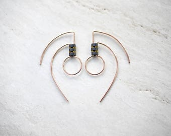 Geometric Tribal Style Gold Fill Earrings with Hematite