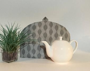 "Tea Cozy - ""Icy Winter"" Gray, Teapot Cosy, Tea Warmer"