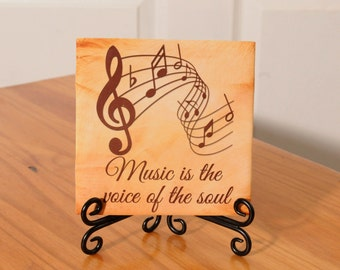 Music is the Life of the Soul tile with stand