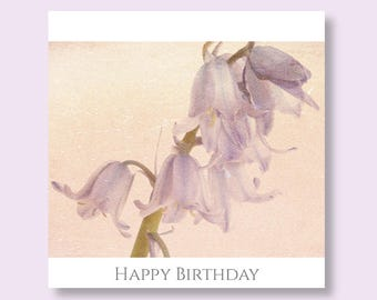 Flower Birthday Photo Card, Bluebells Greetings Card, Photographic Card, Floral Birthday Card, Cards Photo Floral