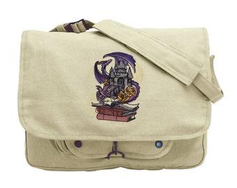 Tomes of Imagination Embroidered Canvas Messenger Bag