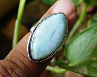 Larimar Gemstone Ring, solid Sterling, Birthstone Silver Ring, Larimar cabochon Ring, Solitaire Larimar Stone necklace, Larimar Ring,(R-153)
