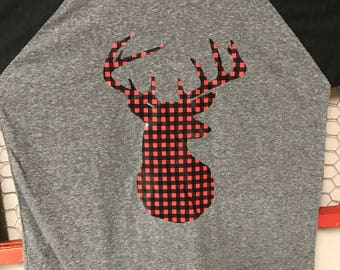 Buffalo plaid deer shirt