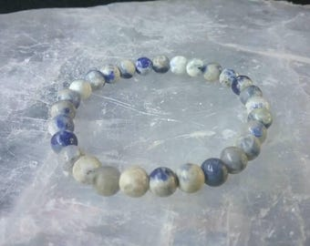 Sodalite 6mm beaded Gemstone Bracelet. Creativity