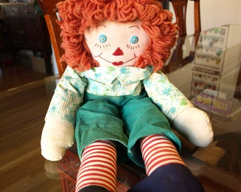 Vintage Raggedy Ann Doll in Green Outfit