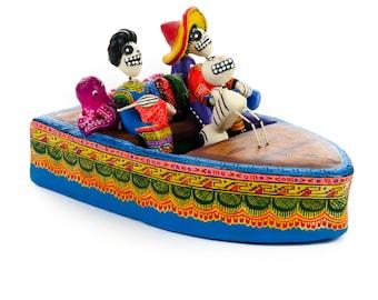Dia De Los Muertos Clay Folk Art Boat Couple With Dog Day Of The Dead Skull Art