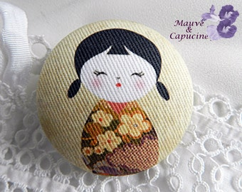 Button printed fabric Japanese doll, 0.86 in / 22 mm diameter