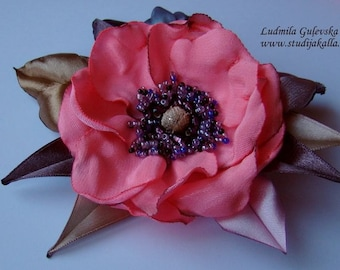 Handmade pink satin flower brooch, flower clip & pin, embroidered flower