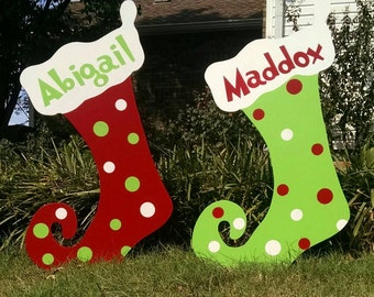 Personalized Christmas Stockings Christmas Yard Art Christmas Yard Decorations outdoor