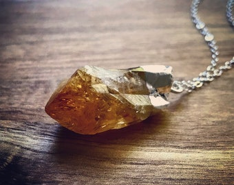 Citrine Necklace / November Birthstone / Crystal Jewelry / Silver  Electroplated / Birthstone Necklace