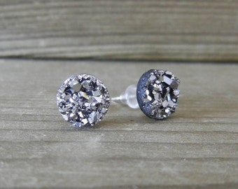 Silver Sparkle Druzy Earrings - 8mm on Stainless Steel Posts.