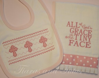 Baby Gift, Burp Cloths, Religious Baby Gifts, Embroidered Burp Cloth, Baby Girl Gift, Baby Boy Gift, Burp Cloth an Bib Set, Baby Shower Gift