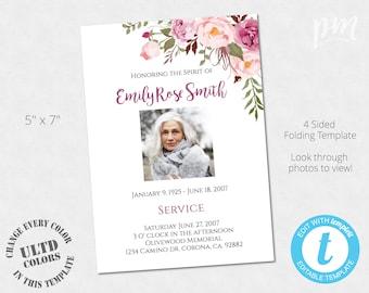 diy funeral program etsy