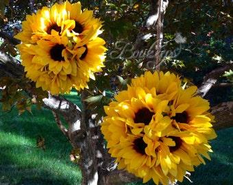 Sunflower Kissing Ball - 6 inches, Sunflower Ball, Sunflower Pomander, Kissing Ball, Sunflower Wedding, Wedding Decor, Sunflower Decor