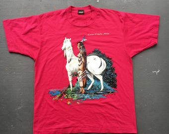Native American with horse 1980s fuchsia vintage tee - size large