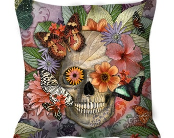 Butterfly Sugar Skull Throw Pillow - Botanical Skull Art Pillow - Dia De Los Muertos Home Decor - Butterfly Botaniskull