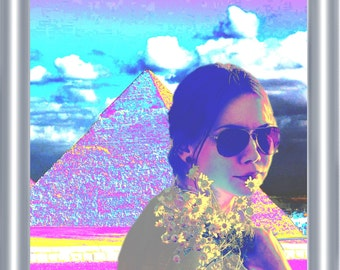 Psychedelic Pyramid Art Print 8 x 10 – Trippy Hippie Girl with Flowers - Egypt - Egyptian - Pyramids - Surreal Pop Art - Music Festival
