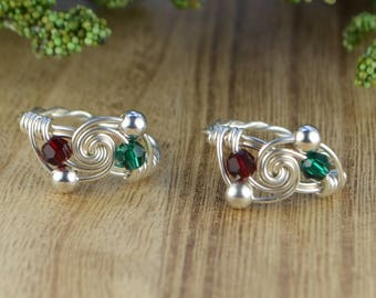 BFF Personalized Birthstones Rings- Pair of Sterling Silver Filled Wire Wrapped Rings- Size 4 5 6 7 8 9 10 11 12 13 14