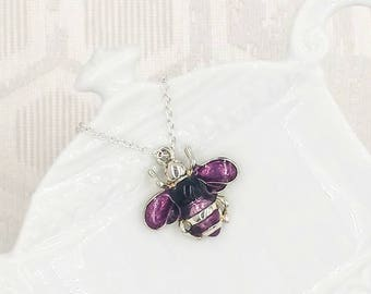 Bee Necklace, Bumble Bee Necklace, Purple Bee Necklace, Silver Bee Necklace, Bee Jewelry, Bee Jewel, Gift for Her