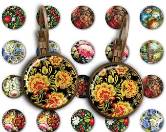 75% OFF SALE Folk Art - 18mm, 16mm, 14mm, 12mm, 10mm Circles Digital Collage Sheets E-007 Printable for Earring, Rings, Jewelry Making