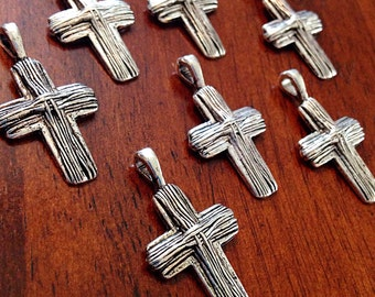 10 Cross Charms, Antique Silver Charms, Silver Cross Charms, Cross, Silver Cross, Crusafix Charms, Jewelry and Craft Supplies, Findings