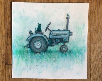 "Josephine on a Tractor ORIGINAL paper study 8""x8"""
