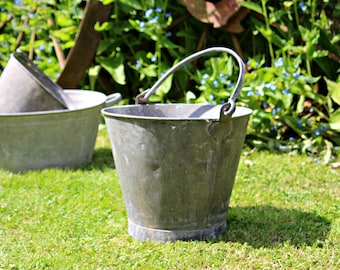 Pair of Vintage Galvanised Tin Buckets, Perfect Decor Piece or Planters