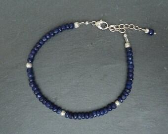 Sapphire Bracelet, Sapphire Stacking Bracelet, Sapphire Layering Jewelry, Gemstone Stacking Bracelet, Sapphire Jewelry, September Birthstone