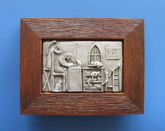 """Julian of Norwich, Patron of Cats: """"All Shall Be Well,"""" Handmade Framed Tableau"""