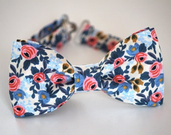 Blue coral bow tie, men's bow tie, boy's bow tie, bloom bow tie, coral and navy bow tie, wedding bow tie, ringbearer bow tie, groomsmen tie