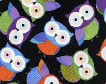 Owls in Black Foxy Owls Timeless Treasures: 1 Yard Cut