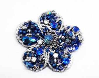 Blue Brooch - Blue Flower Brooch - Beaded Brooch - Beaded Blue Brooch - Blue Floral Pin - Ebroided Jewelry - Gift for Her - Flower Pin